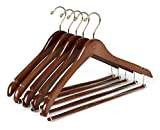 Quality Hangers 25 Curved Wooden Hangers Beautiful Sturdy Suit Coat Hangers with Locking Bar Gold Hooks Walnut Finish (25)
