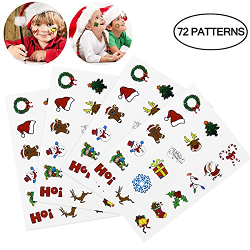 TINKSKY Christmas Holiday Cartoon Temporary Tattoo Stickers Sheets Christmas Birthday Gift for Children Kids 72PCS -