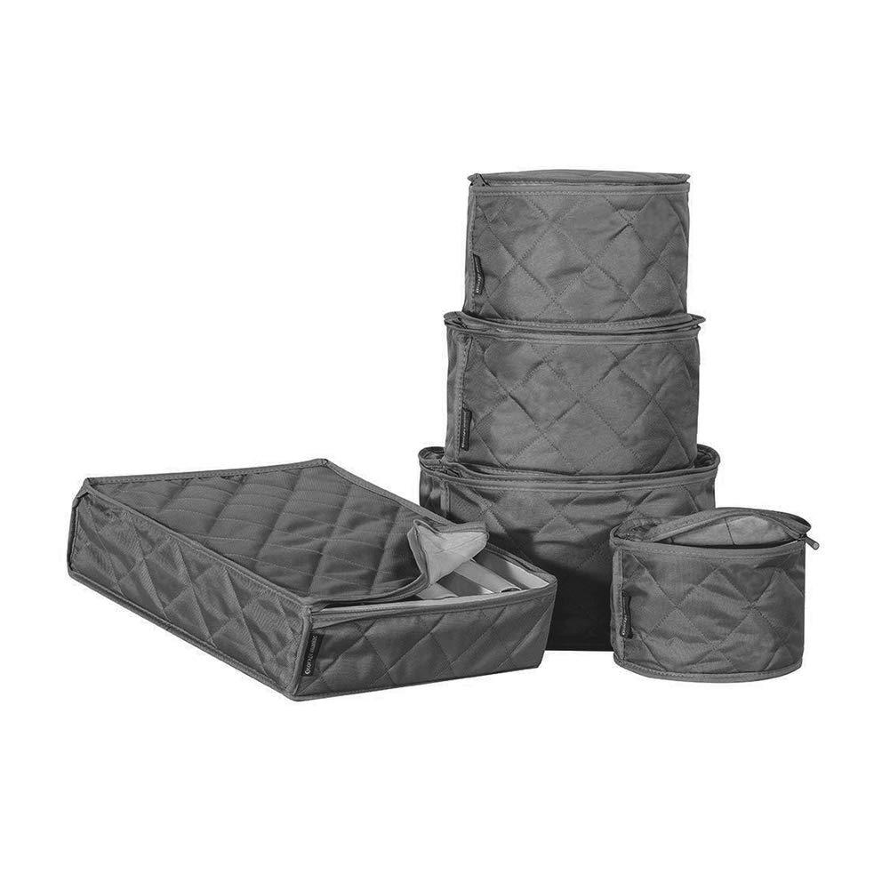 HANSHI protector de platos HGJ971 juego de tazas de t/é y platos de porcelana vajilla de almacenamiento Juego de vajilla de 5 piezas gris oscuro