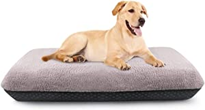 Idepet Dog Bed, Inflatable Dog Sleeping Mat, Dog Kennel, Washable Plush Removable Cover, Non-Slip Bottom, Durable and Comfortable Dog Bed for Large Medium Small Puppy Dogs (37x24x4 inch)