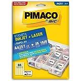 Etiqueta Ink-Jet/Laser A4 21, 2X38, 2 251 Pimaco, Bic, 874997, Branca, Pacote De 25