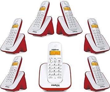 7906dd9f6 Kit Telefone Sem Fio TS 3110 Com 6 Ramal Intelbras Branco Vermelho Com  Identificação de