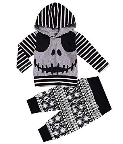 Baby Halloween Outfits Set Pumpkin Hoodie Tops Blouse +Striped Pants 2Pcs Clothes Set (Gray, 2-3 Years)