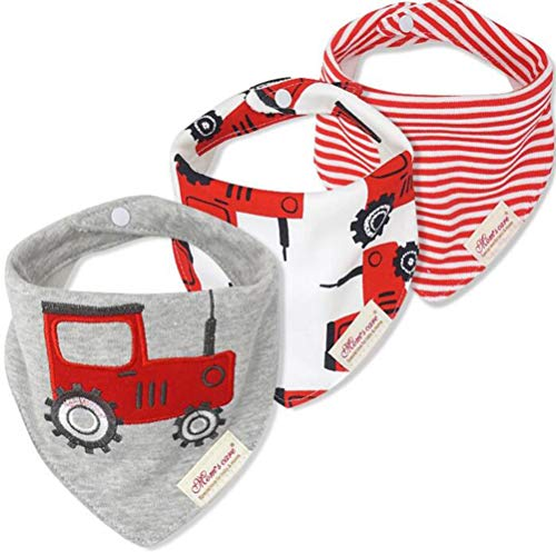 CuteOn Baby Drool Bibs | 3-Pack Super Absorbent Cotton | Unisex Baby Gift - 26 Red Tractor