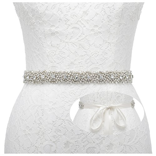 Remedios Rhinestone Bridal Belt Bridesmaid Sash Crystal Wedding Belt Women Dress Accessories, Ivory