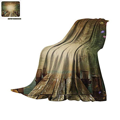 Spring Custom Design Cozy Flannel Blanket Coming of The Spring Themed Lake and Blooming Flowers Illustration with Wooden Pier Digital Printing Blanket 60