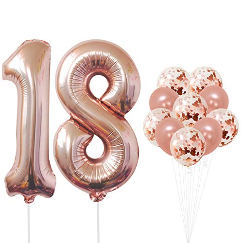KatchOn Rose Gold Number 18 Balloons - foil Mylar Rose Gold Balloons Party Decorations Rose Gold Party Supplies for Engagement Birthday Baby Shower Wedding 32 Foot Balloons -