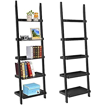 Topeakmart Living Room Black Wooden 70 Inch 5 Tier Leaning Ladder Shelf  Bookcase Bookshelf Stylish Display
