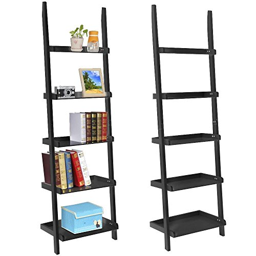 Topeakmart Living Room Black Wooden 70 Inch 5 Tier Leaning Ladder Shelf Bookcase Bookshelf Stylish Display Storage Shelves Unit