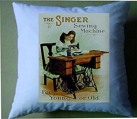 The Singer máquina de coser para jóvenes o viejos retro shabby chic funda de cojín: Amazon.es: Hogar
