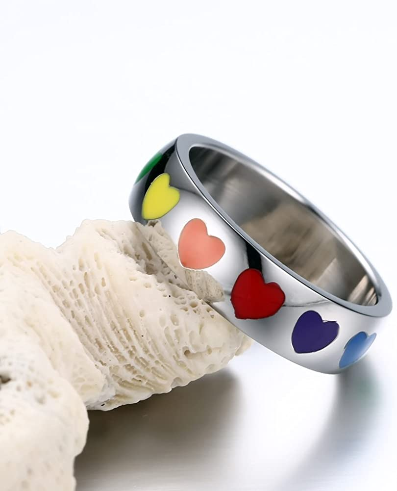 XUANPAI Free Personalized Custom Name Stainless Steel Enamel Rainbow GBT Lesbian Gay Pride Promise Ring