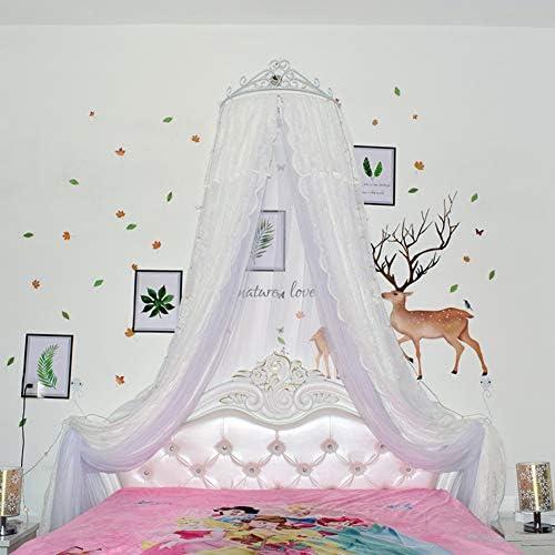 レースベッドキャノピー,皇太子妃 ダブル カラー ベッド カーテン 装飾的なドレープメタルクラウンと寝室のためのライトと裁判所の蚊帳-q