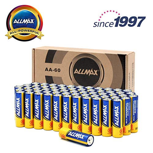 (ALLMAX All-Powerful Alkaline Batteries- AA (60-Pack), Ultra Long Lasting, Leak-Proof, 1.5V Cell)
