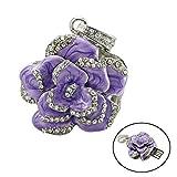 Civetman Purple Crystal Rose Necklace Style Pendrive 32GB USB Flash Drive