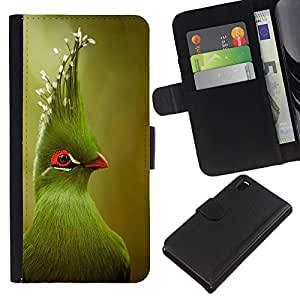 Planetar® Modelo colorido cuero carpeta tirón caso cubierta piel Holster Funda protección Sony Xperia Z3 D6603 ( Green Tropical Bird Green Blurry Nature )