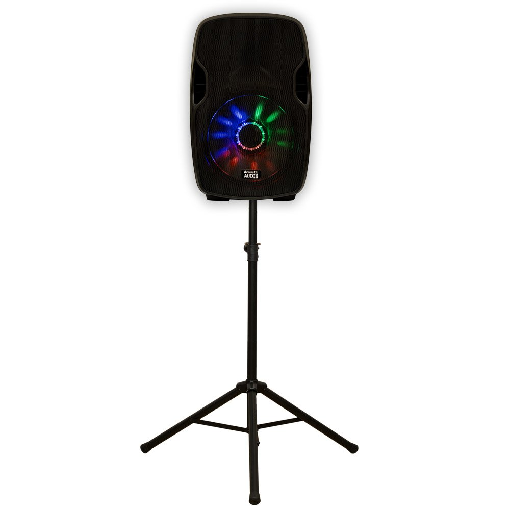Acoustic Audio AA15LUB Powered 1000W 15'' Bluetooth Speaker with Flashing Light Display and Stand AA15LUB-PK1