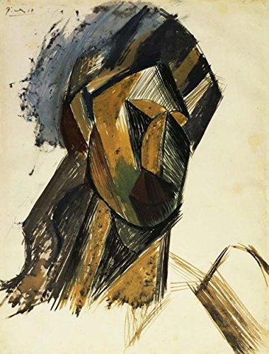 Oil painting `女性の頭、ピカソ`印刷ポリエステルキャンバスに、この高定義12x 16インチ/ 30x 40cm、最高の廊下インテリアとホームギャラリーアートとギフトはアート装飾キャンバスプリントの商品画像