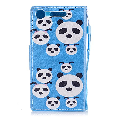 EUWLY Leather Wallet Case for Sony Xperia XZ1,Ultra Thin Colorful Butterfly Flower Tree Animal Embossed Pu Leather Case Cover with Hand Strap for Sony Xperia XZ1 + 1 x Stylus Pen - Dreamcatcher Panda