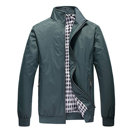 Stunner Men's Spring Casual Mandarin Collar Solid Jacket CN M Green