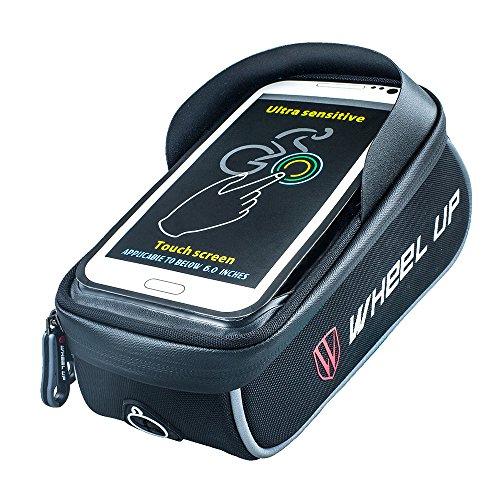 - WHEEL UP Cycling Frame Bag Waterproof Bicycle Front Top Tube Bag Bike Handlebar Frame Pannier Pack Waterproof Can Touch Screen for Smart Phone Below 6.0 Inch (Black)