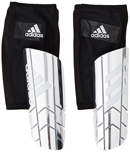 Men Pro Soccer (adidas Performance Ghost Pro Shin Guards, Silver Metal/White/Black, Medium)