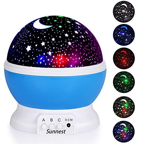 Sunnest Star Projector, Night Lights for Kids, Rotating Baby Night Lighting Lamps, 4 LED Bulbs 8 Modes with 3.2FT USB Cord for Baby/ Children/ Kids by SUNNEST