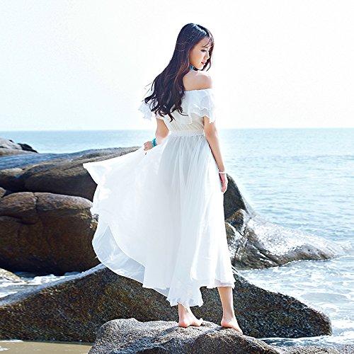Falda XIU Blanco Nieve Verano La De Playa En Vacaciones Falda Playa Con De Vestido Hilar RONG Larga white Una Falda rxwAPq6r