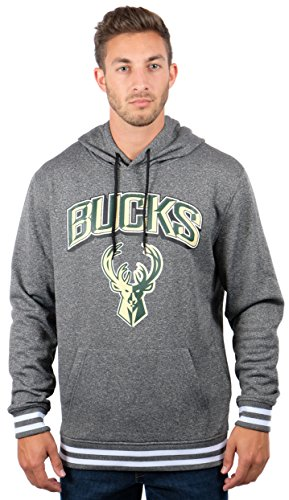 fan products of NBA Men's Milwaukee Bucks Fleece Hoodie Pullover Sweatshirt Rib Stripe, X-Large, Gray