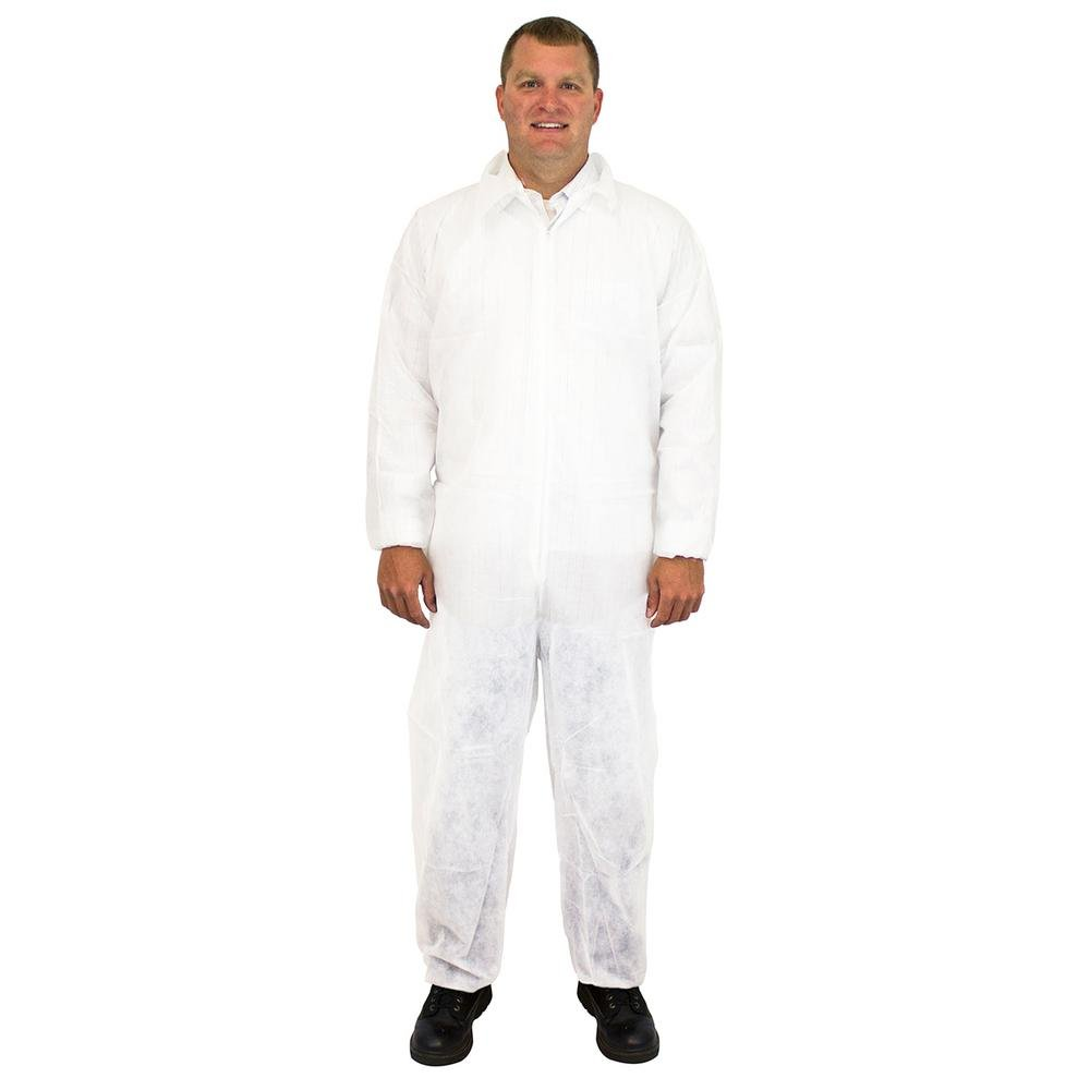 Safety Zone DCWH-MD White Polypropylene Disposable Coverall, 25 Suits Per Box, Size Medium The Safety Zone