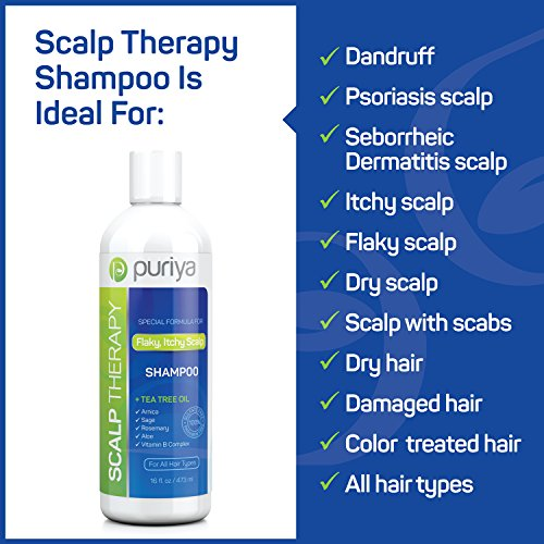 Puriya Sulfate Free Anti Dandruff Shampoo with Tea Tree Oil. 16 oz. Moisturizing and Gentle for Daily Use. Combats itchy, Flaky, Dry Scalp. Ideal for Psoriasis, Seborrheic Dermatitis, scalp eczema by Puriya (Image #2)