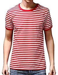 Men's Short Sleeve Crew Neck Striped T Shirt Tee Outfits Tops