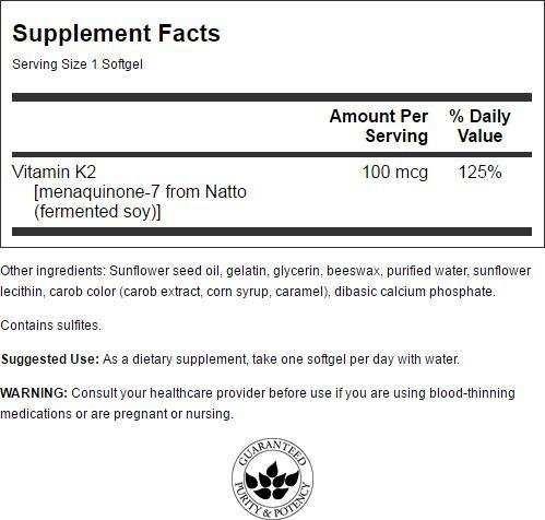 Swanson Vitamin K-2 - Natural 100 mcg 30 Sgels 4 Pack by Swanson (Image #1)