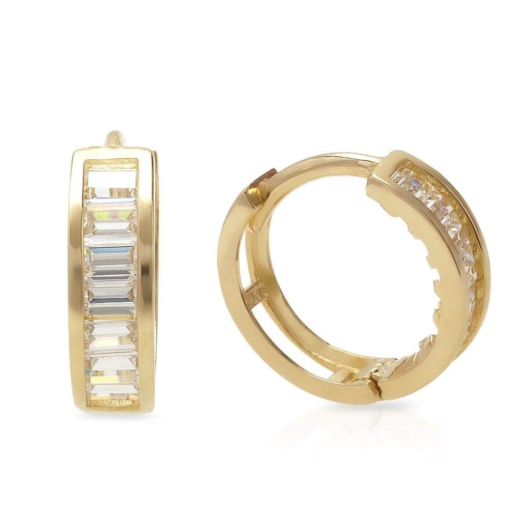 14k Yellow Gold White Gold Created Diamond Huggie Hoop Earrings 0.30Ct