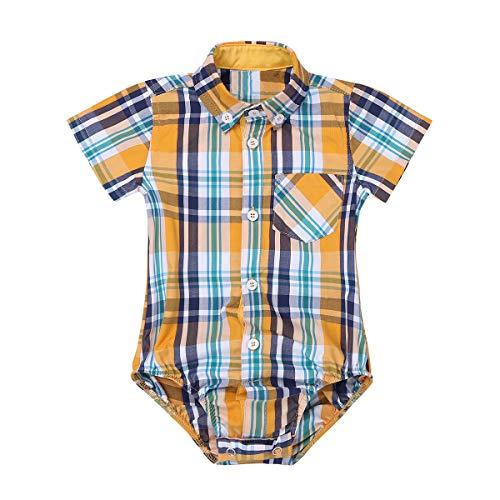 (inlzdz Baby Boys Long/Short Sleeve Plaid Shirt Romper Birthday Bodysuit Jumpsuit Playsuit Spring Summer Casual Wear Yellow Short Sleeve 9 Months)