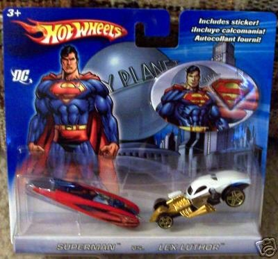 2006 Hot Wheels DC Superman vs. Lex Luthor 2-Pack Wild Thing Blue/Red & 1/4 Mile Coupe White ()
