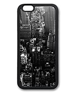 Black Case for iphone 6 Plus,Fashion Cool Art Black and White City Custom Protective Soft TPU Back Case Cover for iphone 6 Plus