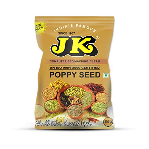 JK Indian Spices / Masala INDIAN WHITE POPPY SEED (Khus Khus / POSTA / POSTO) - 100% Pure and Natural, GMO & Gluten Free, No Added Essence, Color or Preservatives, SPICE 8.82 oz / 250g ()