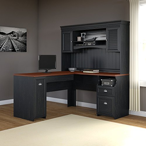 Fairview L Shaped Desk with Hutch in Antique Black by Bush Furniture