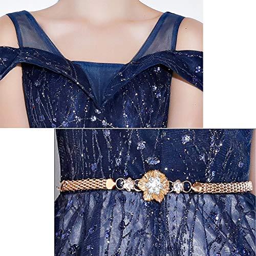Banquete De Lentejuelas Niñas Mujeres Moda Noche Longitud Cjjc Formal Azul Vestidos Vestido Fiesta Noble Damas Elegante Palabra Las 7wWxpaq