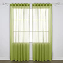 Deconovo Back Tab Sheers Curtains and Drapes Sheer Faux Linen Look Sheer Voile Curtains for Bderoom 52 W x 95 L Set of 2 Panels Green