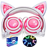 Kids Headphones Cat Ear-Inspired,AMENON Wired On/Over -Ear Foldable LED Gaming Headsets USB Rechargeable Lights 85dB Volume Limited Earphone for iOS Android Laptop Boy Girl Travel Back to School Gift