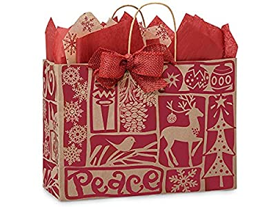 "Vogue Woodcut Christmas Paper BagsMini Pk 16x6x12"" (1 unit, 25 pack per unit.)"
