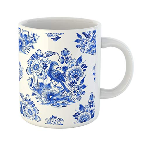 Semtomn Funny Coffee Mug Delft Blue Watercolour Traditional Dutch Floral Paradise Bird Among 11 Oz Ceramic Coffee Mugs Tea Cup Best Gift Or ()