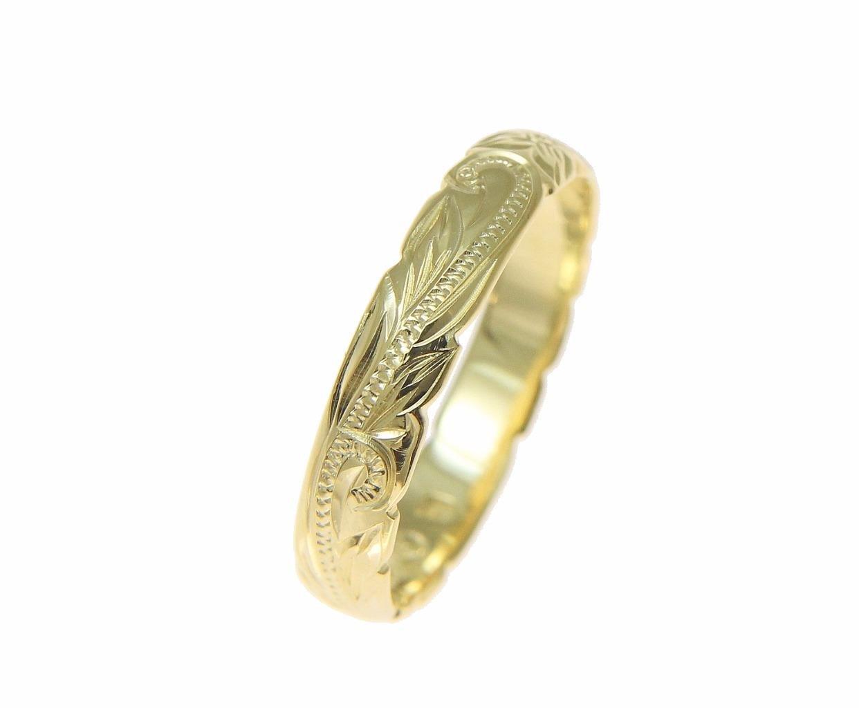 14K yellow gold custom hand engraved Hawaiian princess plumeria scroll cut out edge band ring 4mm size 8