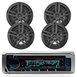 New Kenwood Outdoor Marine Boat/Car ATV AM/FM Radio CD/MP3 USB iPod iPhone Pandora Stereo Player with 4 New 6.5' Inch Black Marine Speakers System - Great Marine Audio Package