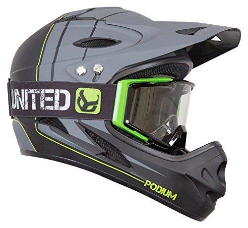 Demon Podium Full Face Mountain Bike Helmet Black with Black Supra Goggle (Large), Black/Green (Best Full Face Mountain Bike Helmet)