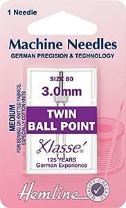 Hemline–Agujas para máquina de coser punto de bola doble tamaño 80/12–3mm