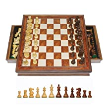 WE Games Grand English Style Chess Set with Storage Drawers - Pieces are Tournament Sized and Hand Carved with Camphor Wood Board 19 in.