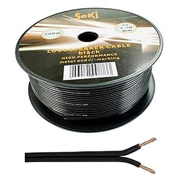 Wire4U® - Cable para altavoz (2 x 0,50 mm, 50 hilos de alambre en 10, 20, 50, 100 m) 100 metres negro: Amazon.es: Electrónica