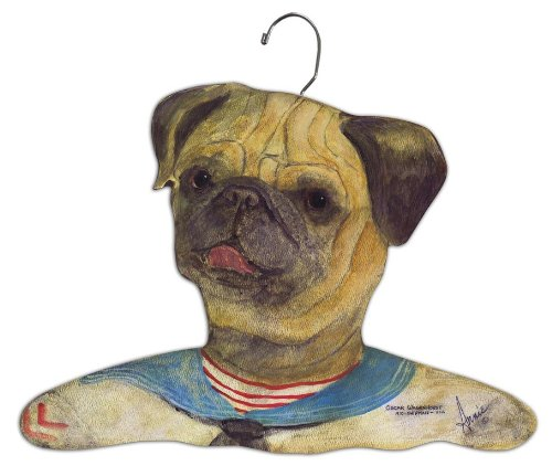 Stupell Home Décor Pug Wearing Sailor Suit Hanger, 17 x 0.4 x 11, Proudly Made in (Pug Plaque)